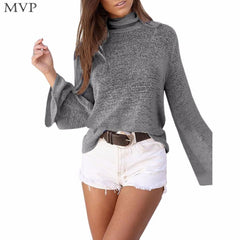 Thin Solid Pullovers Sweaters Trumpet Long Sleeve Slim Knitted Sweater Turtleneck pull
