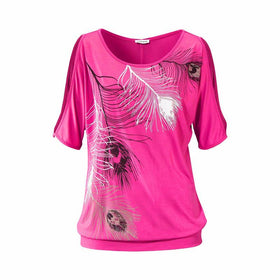 Covasophy New Fashion Women Summer Off Shoulder Casual Top Plus Size  Feather Print Off Shoulder Short Sleeve Round Neck T-Shirt