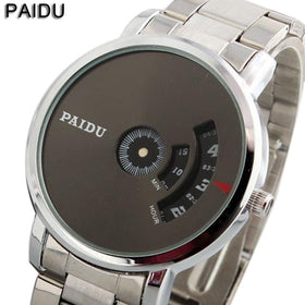 Turnable Dial Simple Cool Minimalist Creative Watch Quartz Stainless Steel Bracelet Wristwatches