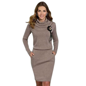 Fashion Women Lady Casual Dress Long Sleeve Party Knitted Dress