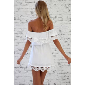 Fashion women Elegant Vintage sweet lace white Dress slash neck