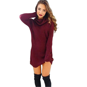 Long Sleeve Women's Turtleneck Sweaters Wine Red Jumper Sweater Slim Dress Solid Pullovers