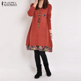 Plus Size Casual Vintage Dress Loose Floral Hem O Neck Long Sleeve Cotton Basic Dresses