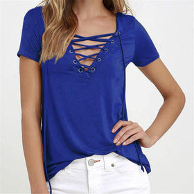 Sexy Hollow Out Strappy Front Women Lace Up Causal Short Sleeve Shirt Women Blusas Lady Tops Blouse