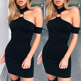 Women's Short Mini Dresses Short Sleeve Evening Party Bodycon Off Shoulder Summer Dress Solid Black