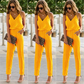 Alegria Store Jumpsuits Blue / L Casual Womens Sexy Strap V Neck Solid Slim Sleeveless Bodycon Jumpsuit Romper Trousers Clubwear
