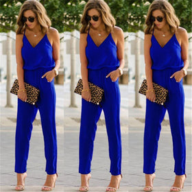Alegria Store Jumpsuits Blue / S Casual Womens Sexy Strap V Neck Solid Slim Sleeveless Bodycon Jumpsuit Romper Trousers Clubwear
