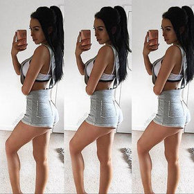Best time to meet you ! Rompers Shorts Playsuit Bodycon Party Jumpsuit Romper Trousers Gray Cotton Summer Skinny Playsuits