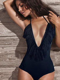 DHgate-161877761 Swimwear Monokini Swimwear Fringe Deep V-neck Chest Opening Halter Top One-piece