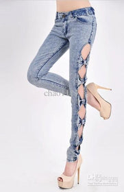 DHgate-210908051 Jeans Low Waist Jeans  Fashion Hollow Out Bowknot Skinny Bow Pencil For Lady