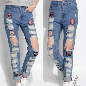 DHgate-233868829 Jeans denim trousers female pants Korean labeling dark jeans casual pants beggar dresses
