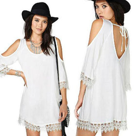 DHgate-243496239 Casual Dresses Casual Mini Short Plus Size  Clothing Fashion  Slimming Backless White Chiffon