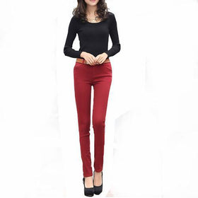 DHgate-246728907 Pants & Capris Sweet Casual Zipper Solid Candy Colors Mid Waisted Skinny Fit Pencil Pants Jeans