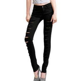 DHgate-246728992 Pants & Capris Jeans Leggings Lady Punk Hole Skinny Slim Long Pencil Pants