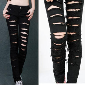 DHgate-255503291 Pants & Capris Black Cotten Denim Punk Ripped Jeans  Slim Cut Off Leggings s M L