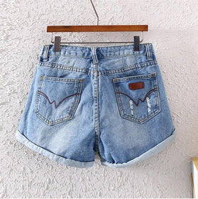 DHgate-257428246 Jeans buttons washed Ripped jeans   cotton jeans hole jean shorts size S M L