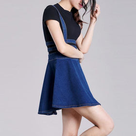 DHgate-263993971 Casual Dresses Brand Jeans Suspender Skirts  Hallow Out Above Knee Skirt Suspender