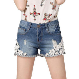 DHgate-266135925 Shorts Ladies Washing Jeans Short Pants Denim Shorts Lace Floral Rivet