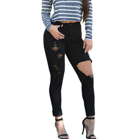 DHgate-370861270 Jeans ripped jeans  pants slim skinny jeans femme casual trousers Denim elastic pencil jeans