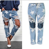 DHgate-371037888 Jeans Star pattern loose ripped big hole jeans tassels trousers pants plus size