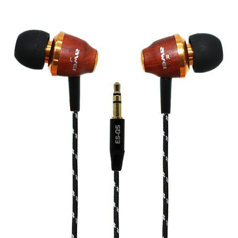 DHgate-381558767 Headphones & Earphones Two-colors AWEI Q5 Bass Wooden In-Ear Headphones Stereo Earbuds headset Smartphone MP3