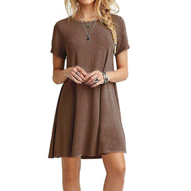 EXCExcellent Dresses Color 1 / L Casual Women Short Sleeve Slim Dress Bodycon Female and Plus Size