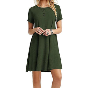 EXCExcellent Dresses Color 1 / XL Casual Women Short Sleeve Slim Dress Bodycon Female and Plus Size