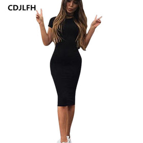 EXCExcellent Dresses Color 1 / XXL Casual Women Short Sleeve Slim Dress Bodycon Female and Plus Size