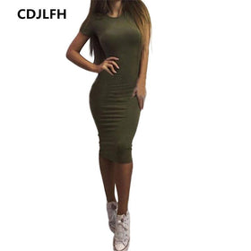 EXCExcellent Dresses Color 2 / M Casual Women Short Sleeve Slim Dress Bodycon Female and Plus Size