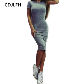 EXCExcellent Dresses Color 2 / S Casual Women Short Sleeve Slim Dress Bodycon Female and Plus Size
