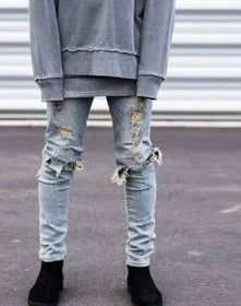 la-fashion-district-llc 1811  big holes blue / 29 Street pants  ripped men jeans designer rock star destroyed pants young man f