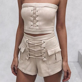 LA Fashion District LLC 2 piece set sexy suede lace up pocket sleeveless two piece suit chic outwear ladies outfit