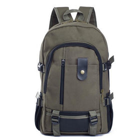 LA Fashion District LLC Army Green Canvas Men's Backpacks Outdoor Travel Bags Vintage Style Design School Casual Backpack