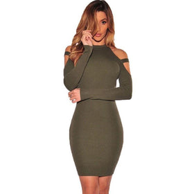 LA Fashion District LLC ArmyGreen / S Off Shoulder Club Party Dresses Long Sleeve Bodycon Elastic Kim Kardashian