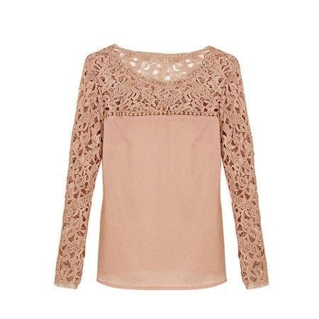 LA Fashion District LLC as photo / L / United States Lace Casual Long Sleeve Chiffon Blouses Patchwork Shirt Sexy Ladies Blouse Tops  01B0155