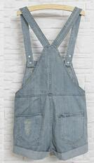 LA Fashion District LLC as picture / S Denim Rompers Strap Pockets Frayed Ripped Holes Overalls Rompers s Jumpsuit Shorts Jeans