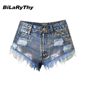la-fashion-district-llc BiLaRyThy Summer Style Sexy Women High Waist Short Jeans Vintage Rivet Ripped Slim Denim Shorts