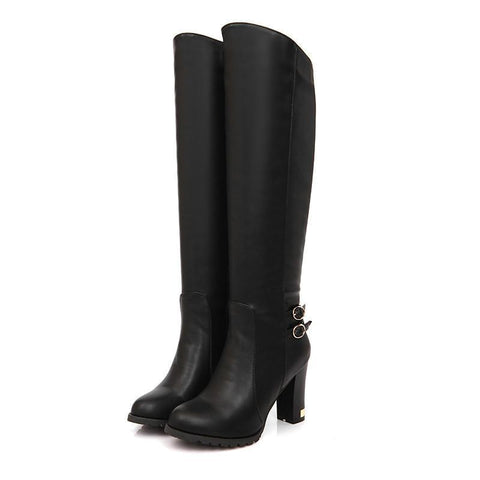 LA Fashion District LLC Black / 4 Winter  knee high boots platform high heels black round toe  boots wedding shoes
