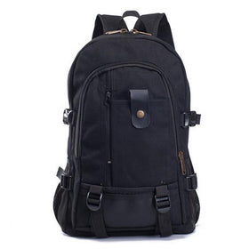 LA Fashion District LLC Black Canvas Men's Backpacks Outdoor Travel Bags Vintage Style Design School Casual Backpack