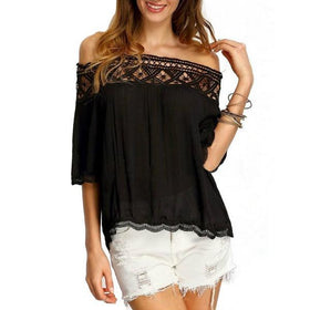 LA Fashion District LLC black / L Off Shoulder Blouses Casual Crochet Lace Halter Shirts Cotton Blouse Patchwork Tee W1