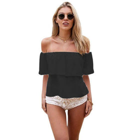 LA Fashion District LLC Black / L Women Girl Off Shoulder Chiffon Boat Neck Casual Tops