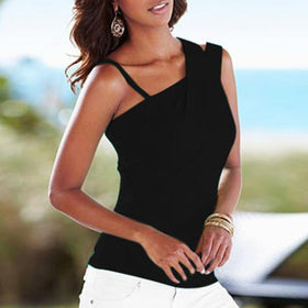 LA Fashion District LLC Black / M European Fashion Blouses Ladies Casual Stretch Solid Blouse Slim Tops Off Shoulder Sleeveless