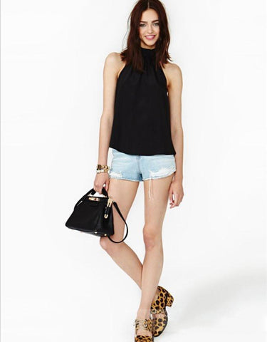 LA Fashion District LLC Black / S Halter Off The Shoulder Sleeveless Black Pink Tops Blusas