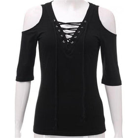 LA Fashion District LLC Black / S Lace Up V neck Blouse Off Shoulder Half Sleeve Slim Summer Tops Plus Size White Gray Shirts