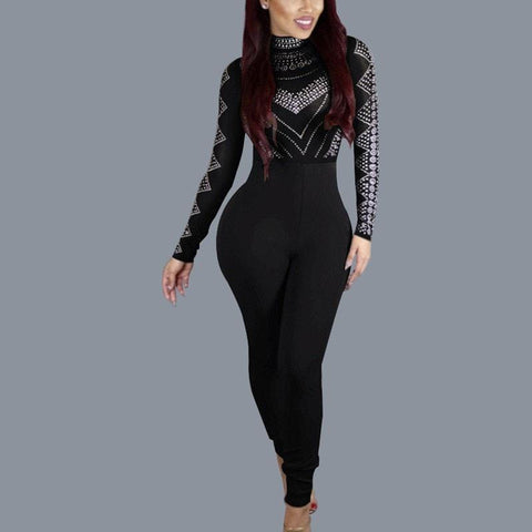 LA Fashion District LLC Black / S Long Sleeve Solid Womens Jumpsuit Skinny Broadcloth Sexy Bodycon Women Plus Size Jumpsuits