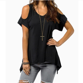 la-fashion-district-llc Black / S Off Shoulder Tops For Women Summer Short Sleeve Shirt Womens Tops Fashion