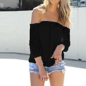la-fashion-district-llc Black / S Off Shoulder White Slash Neck Long Sleeve Hollow Out Crochet Shirts