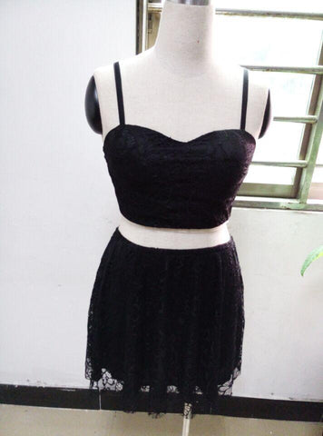 LA Fashion District LLC Black / S Two piece set women casual white or black lace dress