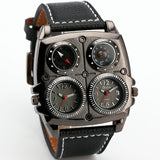 LA Fashion District LLC BLACK Watches Cool Sports Casual Quartz Wristwatch Leather Strap Oversize Military Compass Dial