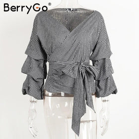 la-fashion-district-llc Black White Plaid / S Rose  Off shoulder ruffle white blouse Sexy cotton cool blouse shirt women Winter